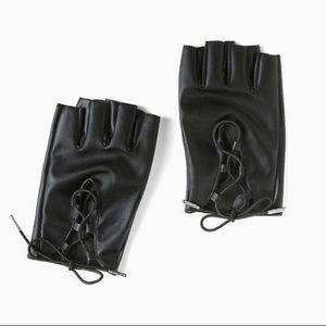 Torrid Fingerless Lace-Up Faux Leather Gloves